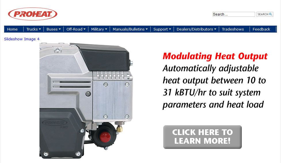Proheat official website homepage