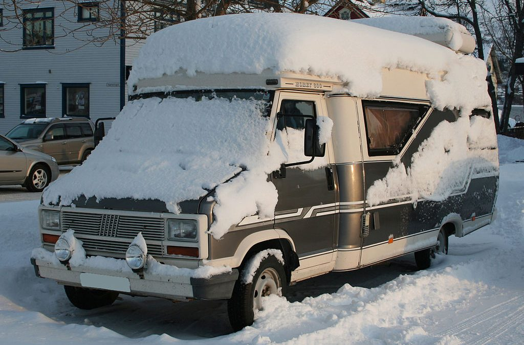 RV covered with snow